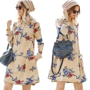 RYLEE Floral Print Dress - LATTE